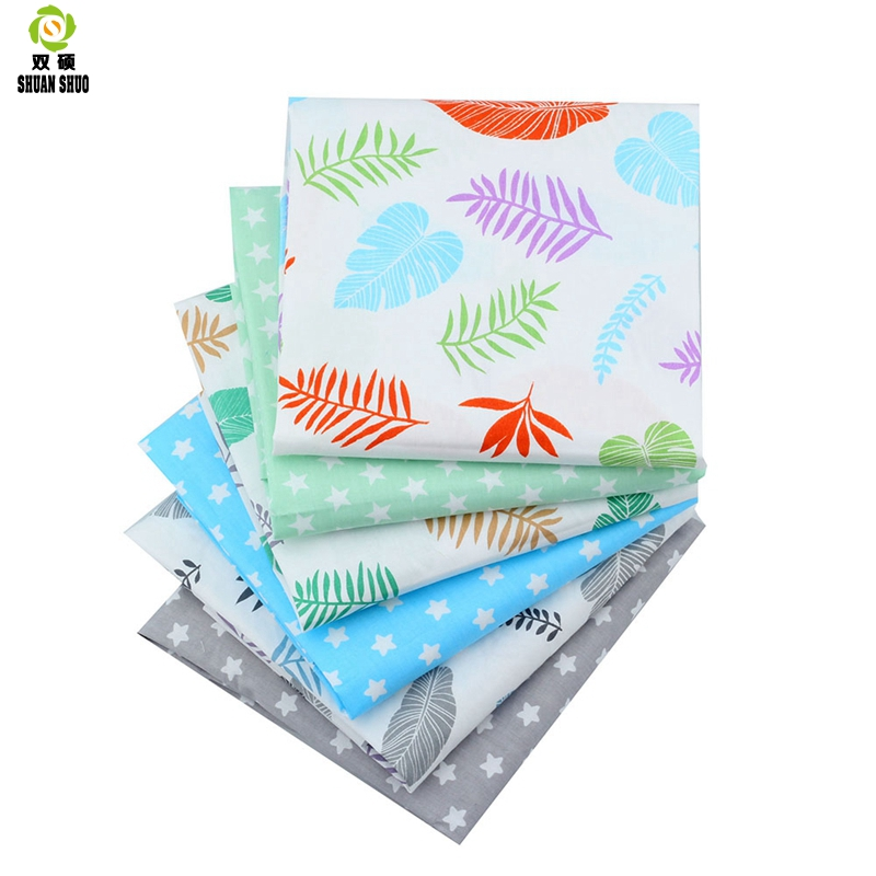 Shuanshuo 6pcs lot Leaves Printed Twill Cotton Fabric Patchwork Cloth For DIY Quilting Sewing Baby Children Sheets Dress in Fabric from Home Garden