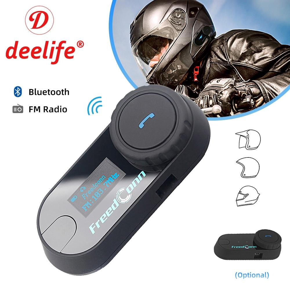 Deelife interfone capacete da motocicleta fone de ouvido bluetooth sem fio comunicação música alto-falante para moto scooter motor bicicleta