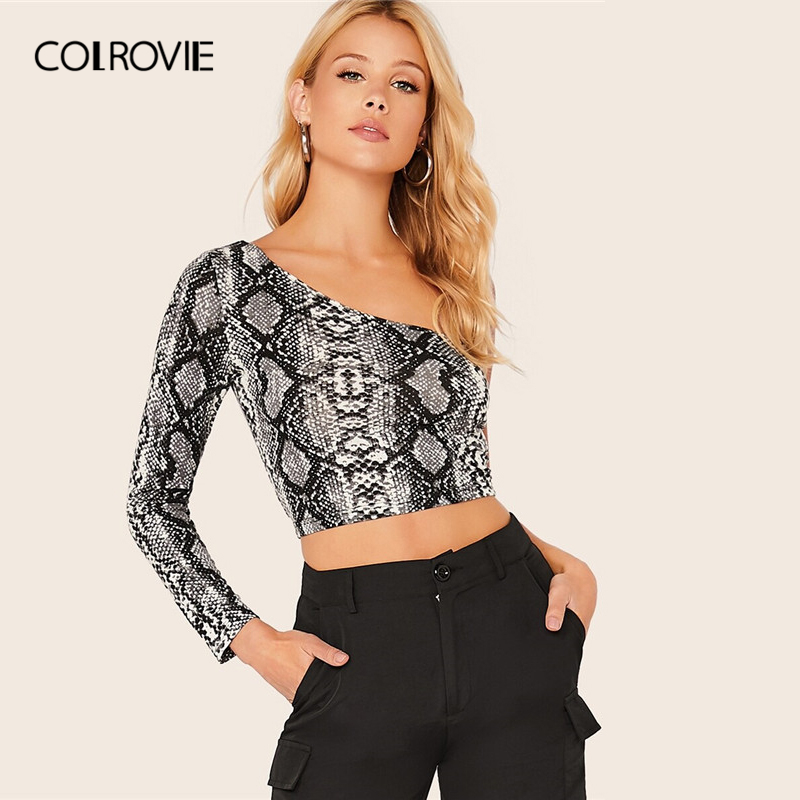 COLROVIE One Shoulder Snakeskin Crop Top Women Long Sleeve Casual Tops 2019 Summer Fashion Slim Sexy Night Out Tees