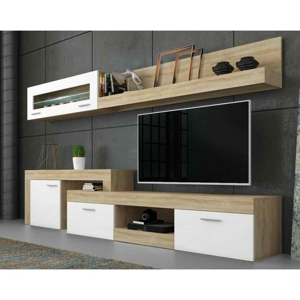 Parete Attrezzata Lublino Bianco E Rovere Mobile Tv Soggiorno Sala Da Pranzo Casa Arredare Funzionale Design Moderno Living Room Sets Aliexpress