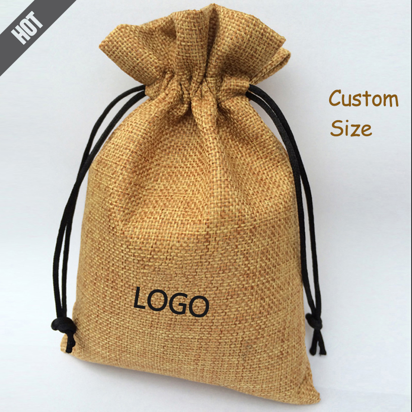 50PCS Jute Drawstring Bag With Velvet Lining Linen/Flax Sachet Jewelry/Packing/Gift/Diamond/Ring/Bead Pouches Custom Logo Print image