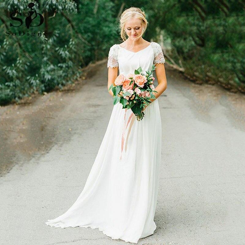 Simple Chiffon Wedding Dress With Beading A Line V Neck Short Sleeves Boho Bridal Dress Vestido De Novia 2020 Beach Bridal Gown Wedding Dresses Aliexpress