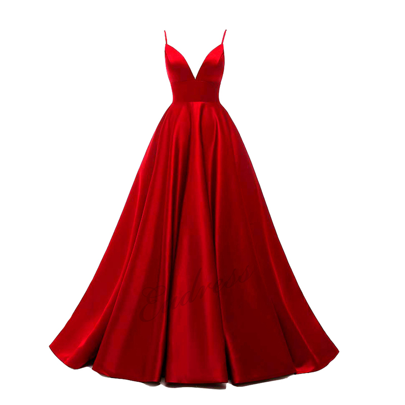 2019 Prom Dresses A-Line Satin Spaghetti Strap V-Neck Prom Party Dresses Backless Sexy Vestidos Women Long Formal Dress
