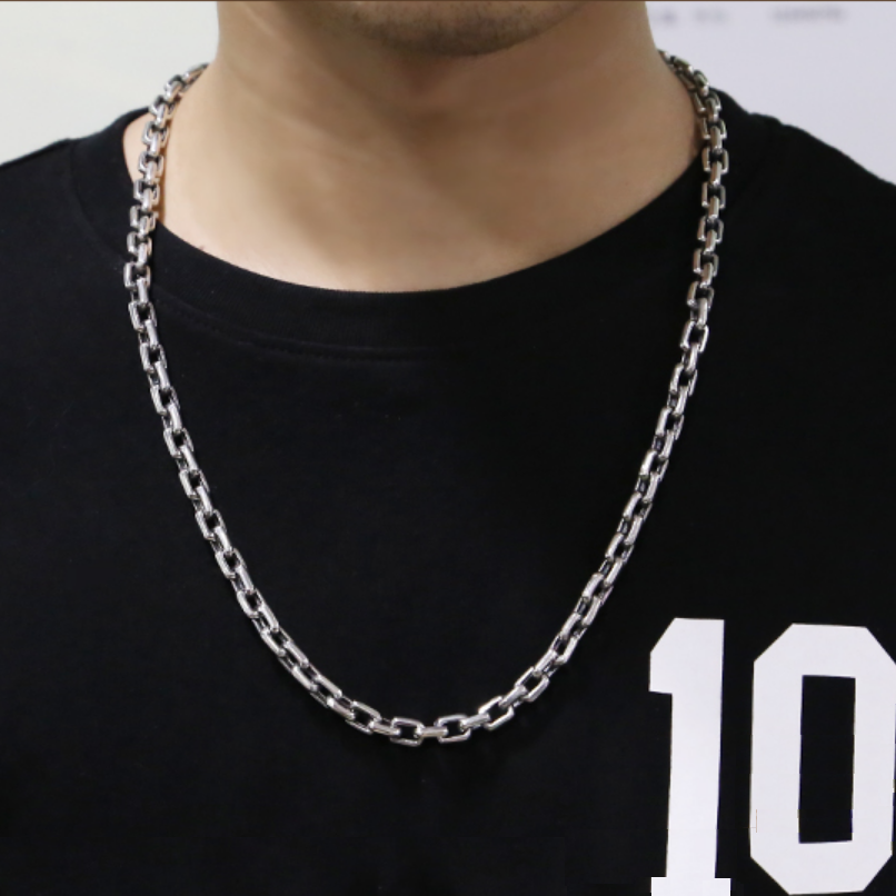 Тяжелая 925 пробы Серебряная 7 мм Простая цепочка для мужчин ожерелье мужское винтажное тайское серебряное стимпанк байкерское ожерелье s ювелирное изделие - 5