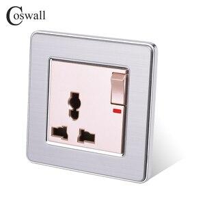 COSWALL панель из нержавеющей стали 13A универсальная Коммутируемая розетка с неоновой розеткой, заземленная с защитной дверью для детей