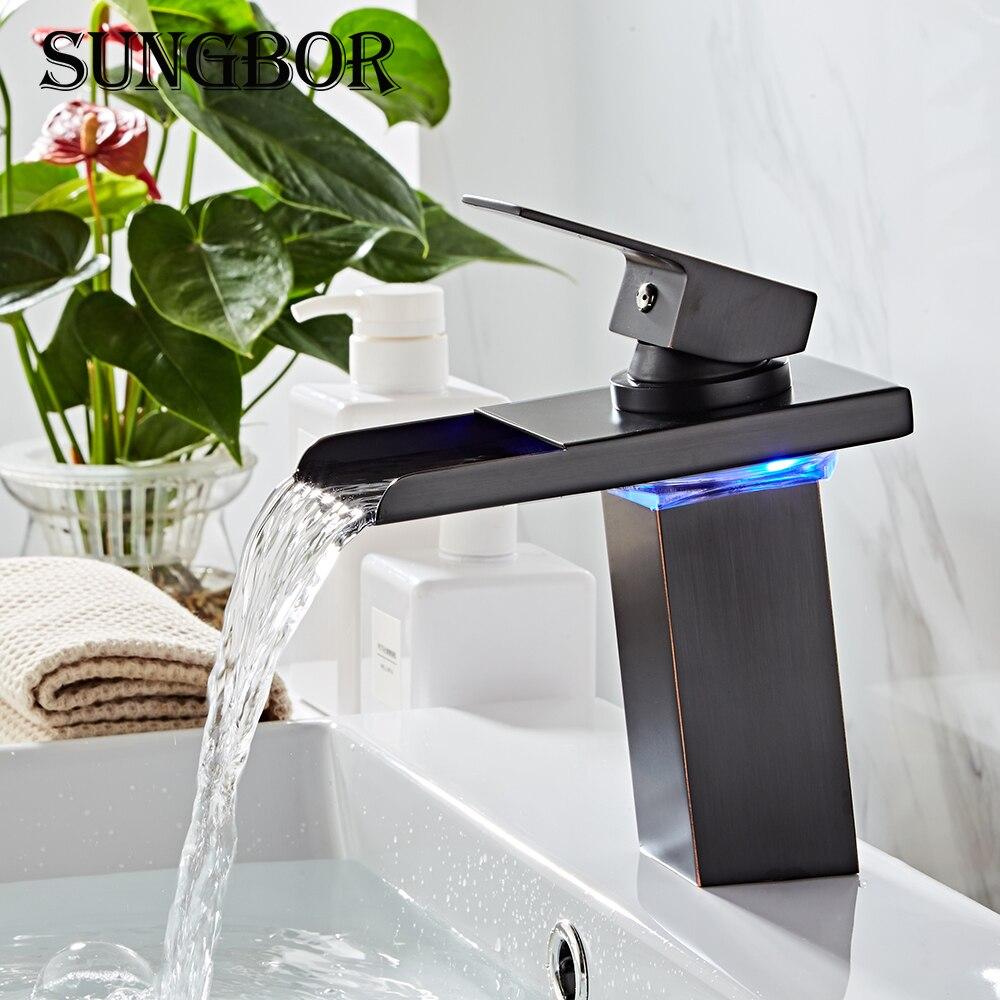 Noir eau alimenté robinet à LED salle de bain bassin robinet en laiton mélangeur robinet cascade robinets chaud froid grue bassin robinet AL-7193H