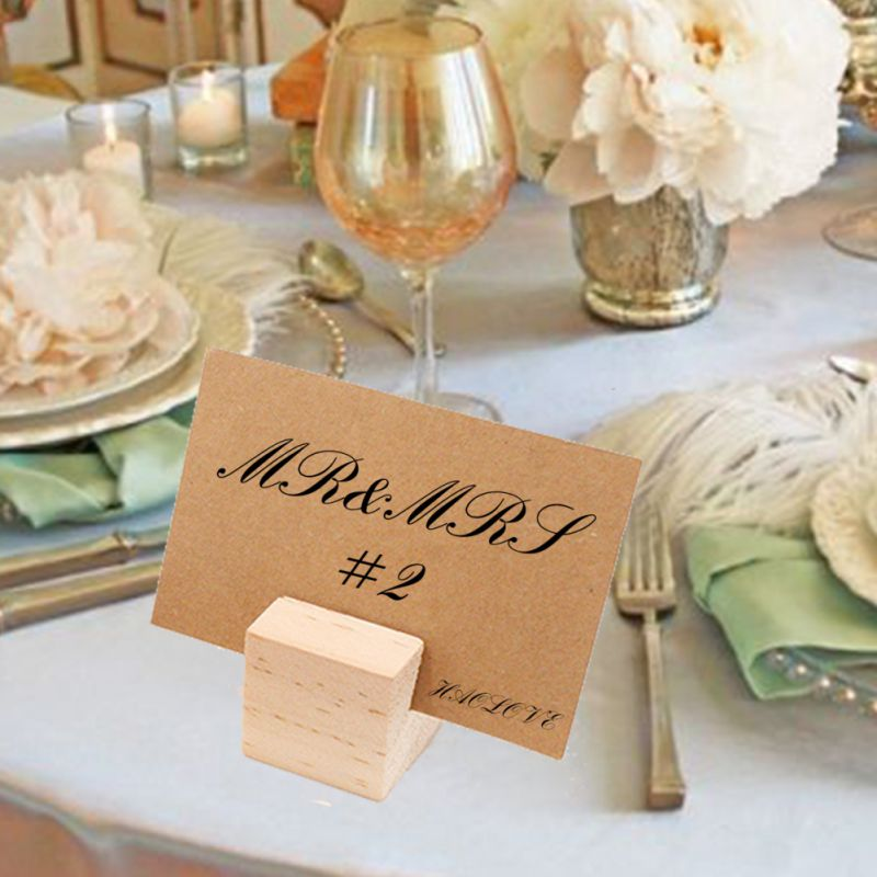 Pack Of 10 Wooden Card Holder Base Name Card Table Numbers Memo Picture Photo Holder For Wedding Party Christmas Decorations HF image