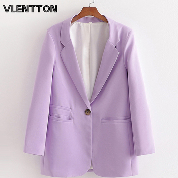Spring Autumn Women Vintage Purple Blazers And Jackes Solid Button Suit Coat Female Outerwear Tops OL Work Office Blazer Mujer button through solid outerwear