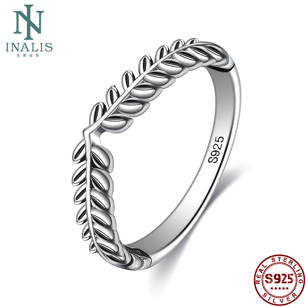 INALIS Genuine 925 Sterling Silver Classic Stackable Vintage Lucky Tree Leaf Finger Ring For Women Anniversary Fine Jewelry Gift