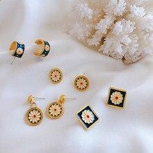 Korean Cute Vintage Flower Enamel Square Round Glaze Stud Earrings For Women Fashion Boucle d'oreille Brincos Jewelry france dyxytwe ladybug pink flower tassel luxury jewelry women gift enamel glaze jewelry