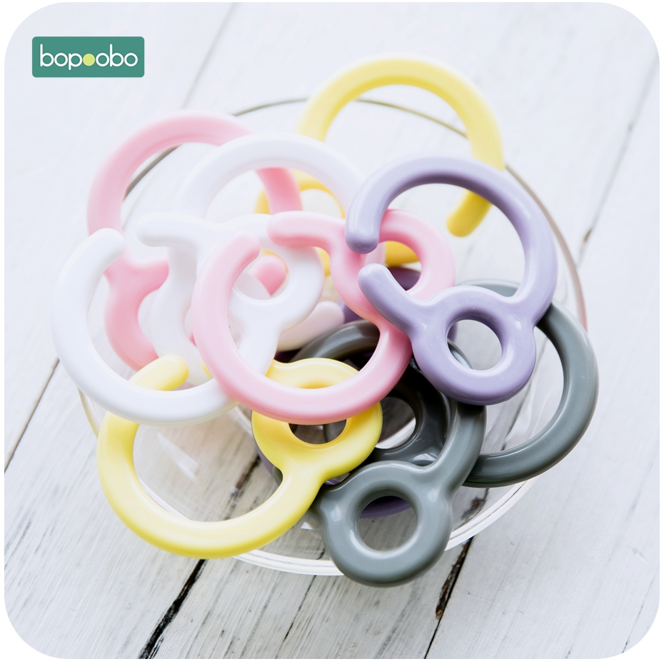 Bopoobo 20pc Plastic Pacifier Hook Teething Ring Links For Baby Stroller Toys DIY Dummy Clips Baby Teether Baby Cart Accessories