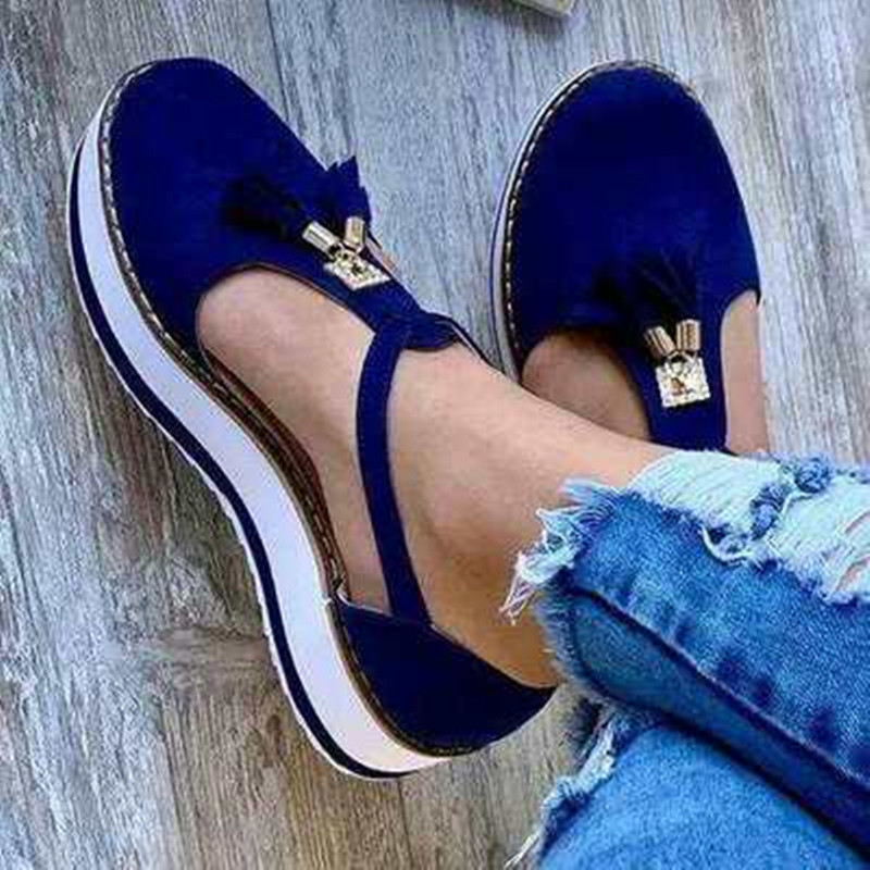 KAMUCC New Women Summer Sandals Fashion Buckle Strap Solid Fringe Cover Heel Flat Platform Heel Casual Ladies Plus Size Sandals