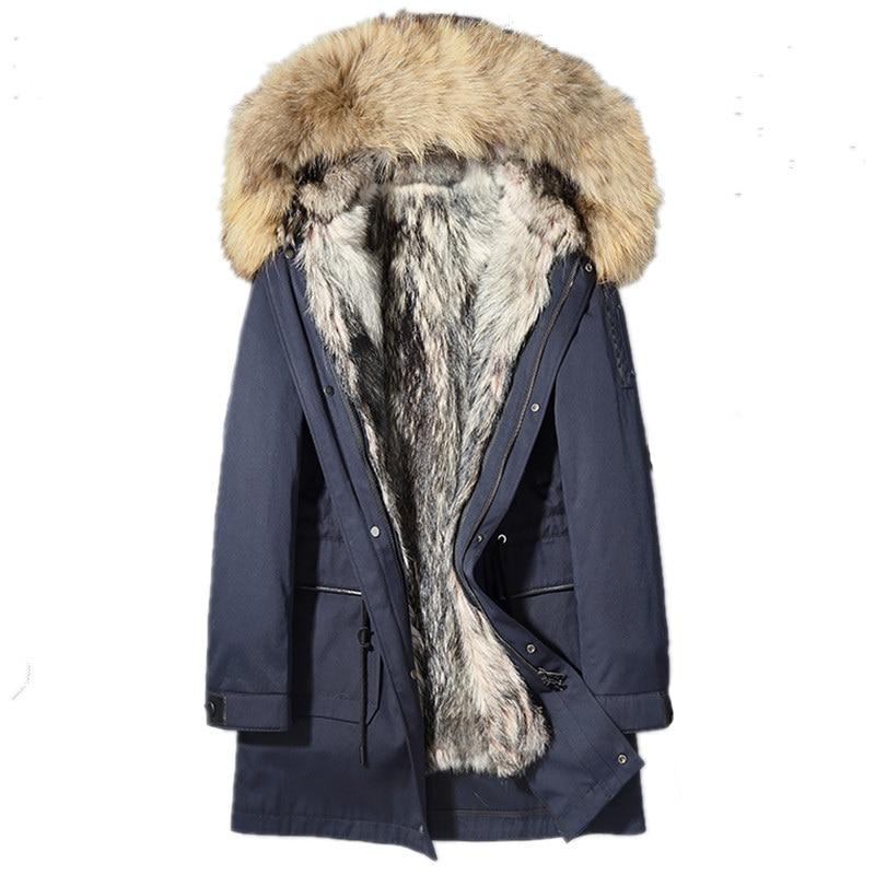 Men's Winter Jacket Real Fur Coat Natural Wolf Fur Liner Parka Men Real Raccoon Fur Collar Warm Jacket Winterjas L18-5500 MY1665