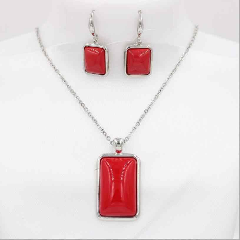 Neue 1016 +++ Einfache mode halskette ohrringe set, braut suite großhandel, exquisite damen rechteckige schale schmuck