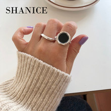 SHANICE 925 Sterling Silver Open Ring Vintage Ring Punk Classic Black Drip Imitation Black Stones Male Enamel Ring(China)