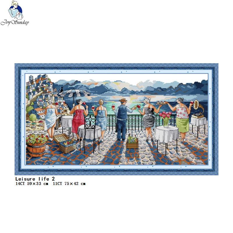 Leisure life 2 cross stitch kit 11CT 14CT count and stamp needlework embroidery set  DIY home decoration painting Christmas gift