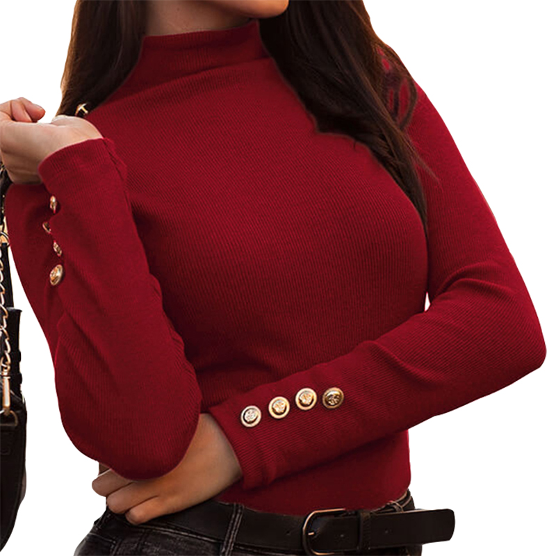 Women Clothing Turtleneck Buttons Long Sleeve Knitted Shirts Female Solid Causal Work Office Lady Thin Sweaters Knit Tops M0381