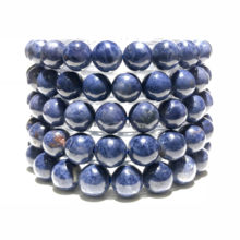 Women Men Bracelet Charm Gemstone Spacer Round Beads Natural 8mm Blue Sapphire Stone Beads Wealth Bracelet Necklace Accessories(China)