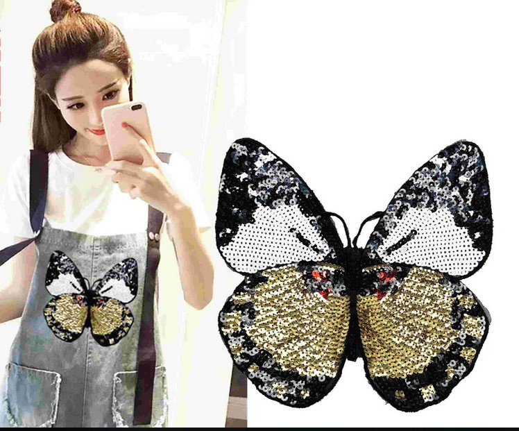 Pearl Embroidered Butterfly Sequin Cloth Patch Fashion Clothes Patch Applique Stickers