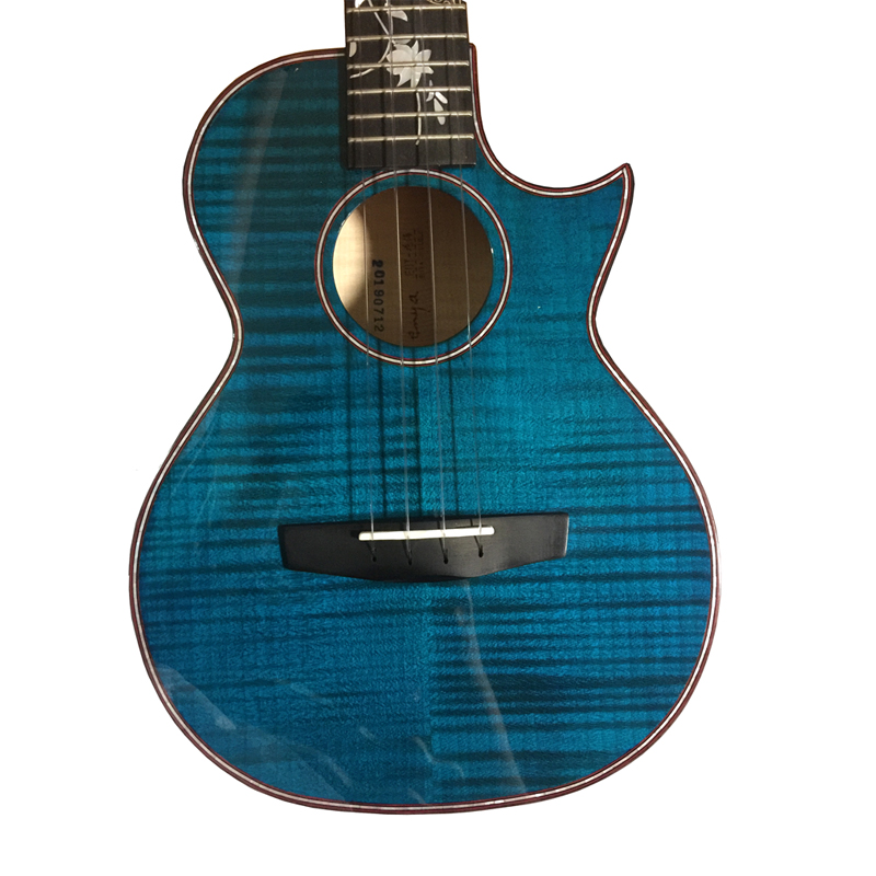 """Ukulélé fleur Enya huahai 5A Grade flamme érable bleu ukuléles 23 """"26"""" Concert/ténor Hawaii guitare 4 cordes instruments de musique"""