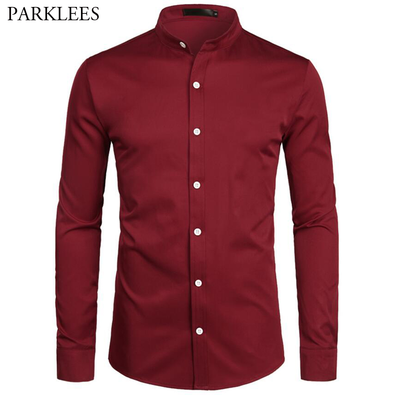 Red Shirt Men Business Casual Men Dress Shirts Band Collar Button Down Men Long Sleeve Daily Work Mens Camisa Social Masculina