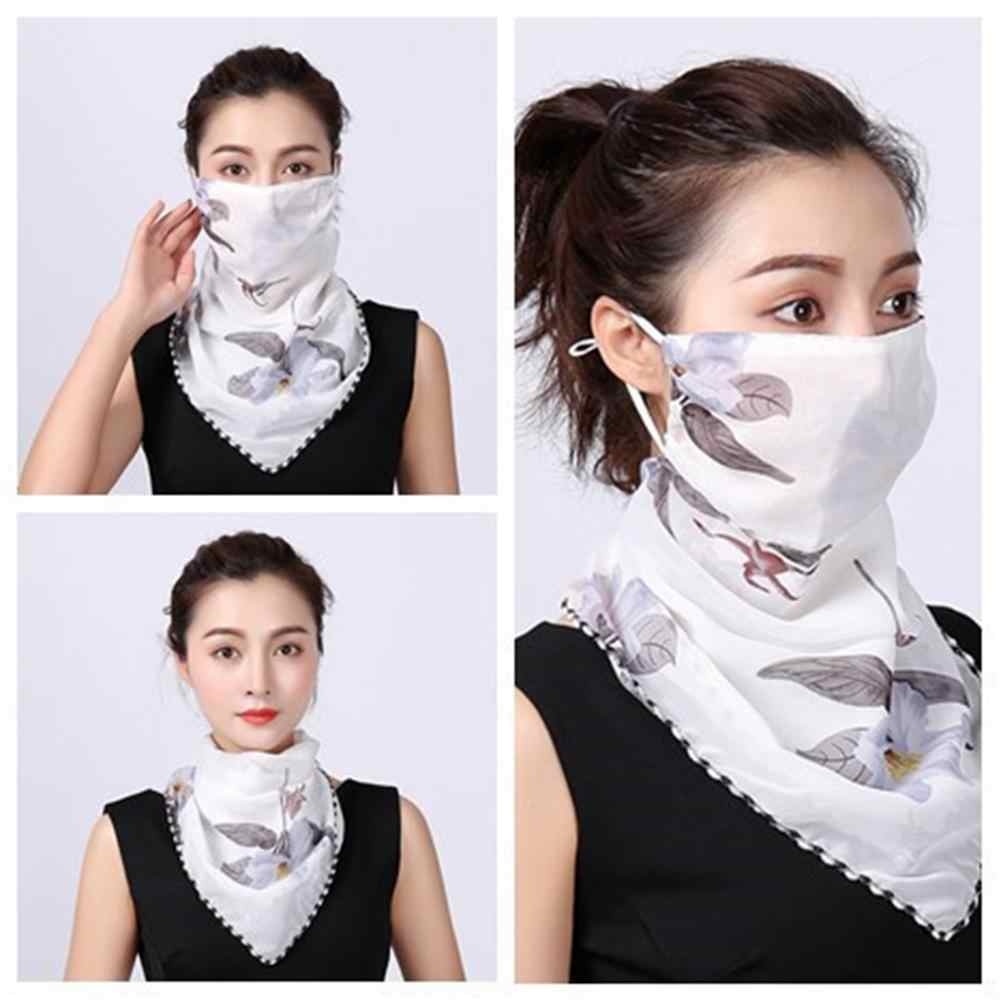 Summer Women Floral Print Anti-UV Dustproof Scarf Outdoor Sport Riding Face Mask