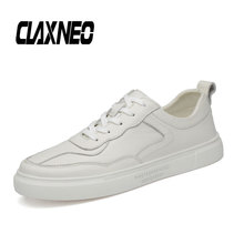 CLAXNEO Man Leather Sneakers Fashion White Casual Shoe Male Walking Shoes Genuine High Quality
