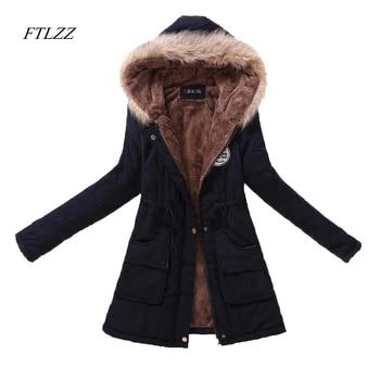 FTLZZ New Autumn Winter Women Jacket Cotton Padded Casual Slim Coat Emboridery Hooded Parkas Plus Size 3xl Wadded Overcoat 1