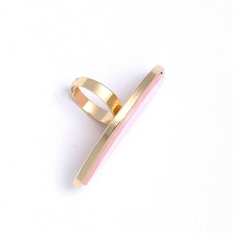 2020 جودة عالية الاكريليك العصرية قابل للتعديل الأبيض رشيقة خلات لوحة 1 قطعة خواتم هندسية البيضاوي الوردي شارع كبير الراتنج