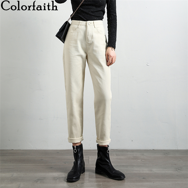 Colorfaith New 2020 Women Spring Summer Jeans Casual Straight EmpireTrousers Loose Denim Fashionable Ankle-Length Pants J2288