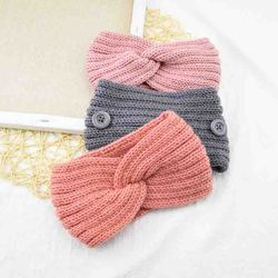 Simple Solid Color Knitting Woolen Warmer Ear Women Cross Knot Handmade Button Hairbands Winter Lady Head Wrap Hair Accessories