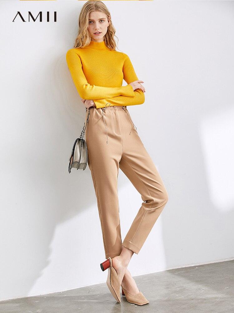 Amii Autumn Fashion Women Trousers Female Elegant Solid Slim Fit High Waist  Pants 11930229