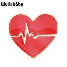 Wuli&baby Red Heart Brooches Women Alloy Breaking Exciting Enamel Brooch Pins Gifts