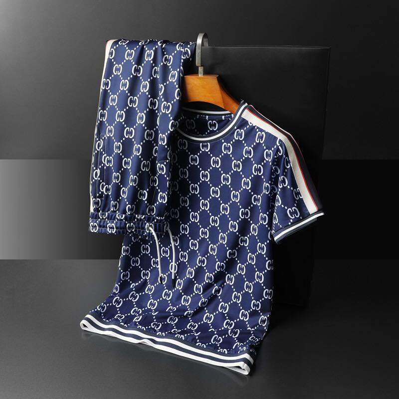2020 New Summer High-end Men's Round Neck Short Sleeve Trousers Sports And Leisure Suit Short Sleeve Trousers Running Suit
