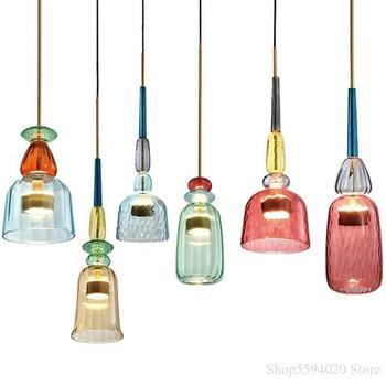Retro Colour Glass Hang Lamp Industrial Wind Bar Restaurant Bedside Glass Pendant Lights In Cafe Bedroom Lustre Pendente Fixture