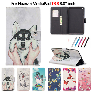 Cute Cat Unicorn Puppy Butterfly Tablet Cover For Huawei MediaPad T3 8 KOB-L09 KOB-W09 8.0 inch Case For Huawei MediaPad T3 8(China)