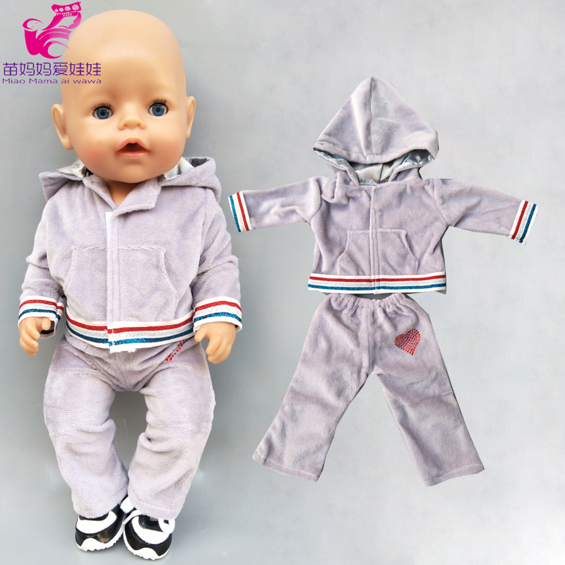 43cm Baby Doll Boy Grey Hoody Sweater Pants For 18 Inch American Generation Girl Doll Cothes