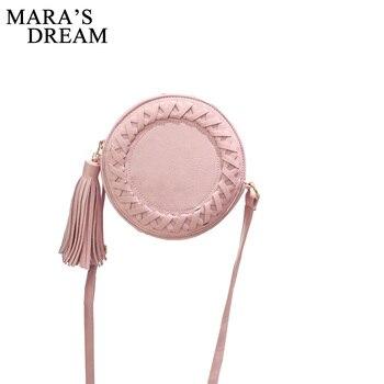 Mara s Dream Round Women Tassel Bag Woven Crossbody Bags Womens Shoulder Bag Ladies Cute Knitting