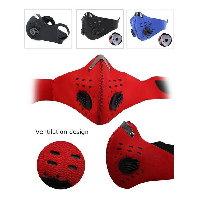 Anti-PM2.5 Mask With Valve Anti-fog and Activated Carbon Dustproof Windproof Bicycle Mask Mountain Bike Air Valve Riding Mask 4