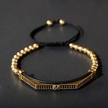 Jóias de luxo preto zircão longo tubo curvo charme pulseiras & bangles macrame 5mm contas de cobre corda trançada pulseira masculino pulseira