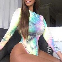 Sexy Bodysuit Long-Sleeve Club Rompers Womens O-Neck Party Night-Ladies Neon Tie-Dye
