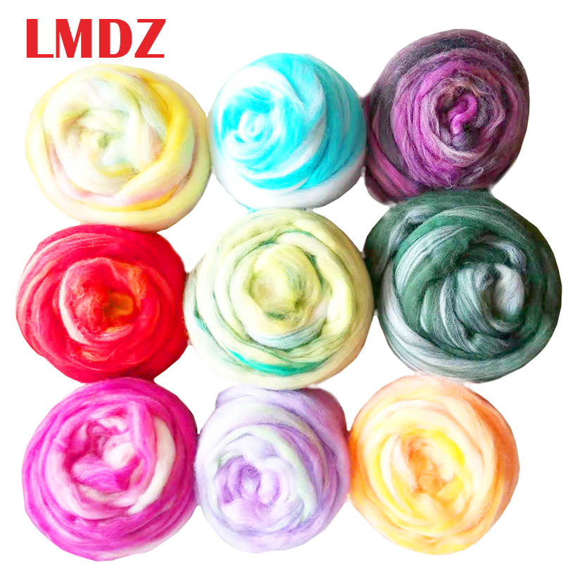 LMDZ 1Pcs 50g Mixed Color Felting Wool Fiber Needle Felting Natural Collection For Animal Projects Felting Wool For DIY Craft