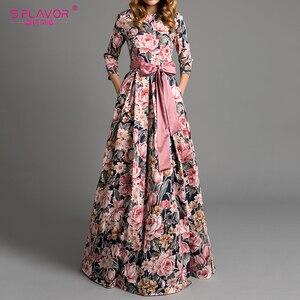 Image 1 - S.FLAVOR Bohemian Printing Long Dress O neck 3/4 Sleeve Big Hem Women Autumn Winter Casual Dress Elegant Party Vestidos De