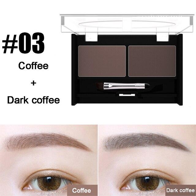 Girls Women Eyeshadow Cake Makeup Tools 2 Color Waterproof Eyebrow Powder Eye Shadow Eye Brow Palette + Brush Eyebrow Enhancer 3