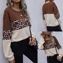 Sweat-shirt à rayures et imprimé léopard sauvage pour femme, haut à la mode, col rond, manches longues, couture, ample, décontracté, 1 pièce, c50