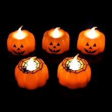 1/2/3 sztuk dynia świeca światło zaopatrzenie na przyjęcie halloweenowe lampy LED latarnia ozdoby rekwizyty dekoracje na Halloween dla domu