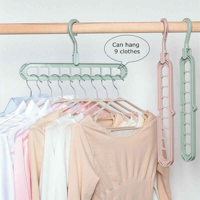 9 Holes Multi-fuction Wonder Closet Space Saver Organizer Hot Sale Rotatable Plain Colour Clothing Storage Magic Hanger