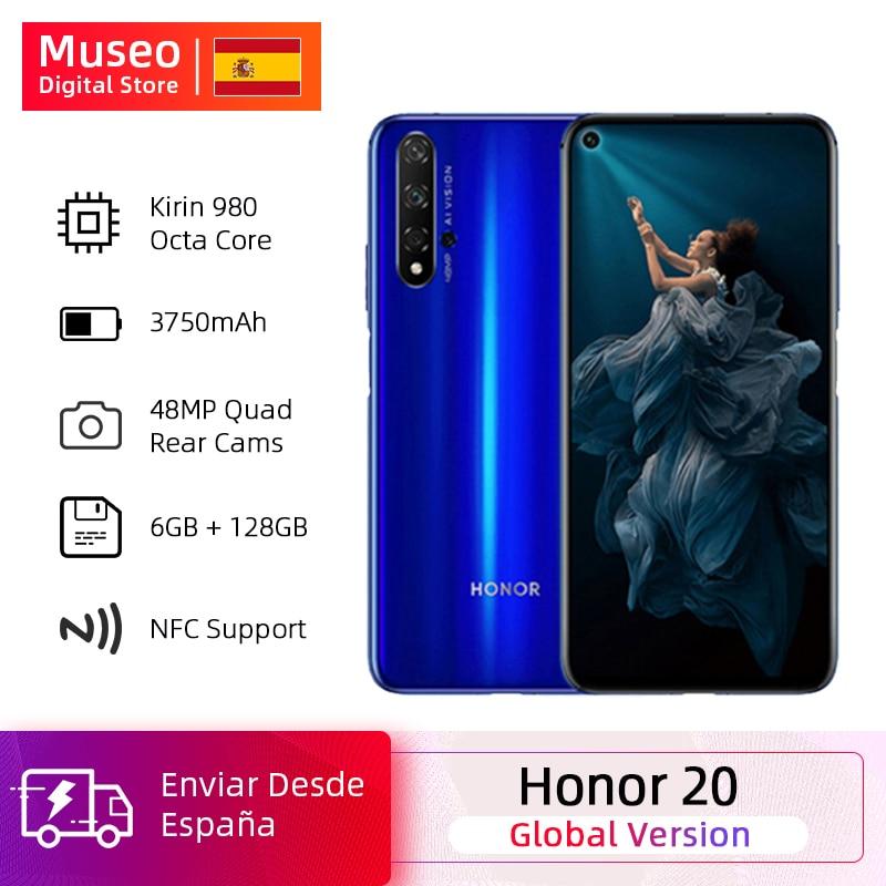 Global Version Honor 20 Smartphone 6G128G Kirin 980 Octa Core 6.26 ''48MP Four Cameras Cellphone Googling Play SuperCharge