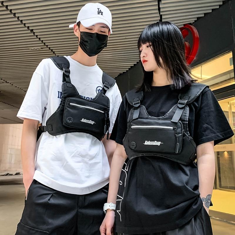 Ms Large Capacity Bag Black Leather Small Female Messenger Bag Hip Hop Business Girl Chest Belt Female Bag Fashion Pockets