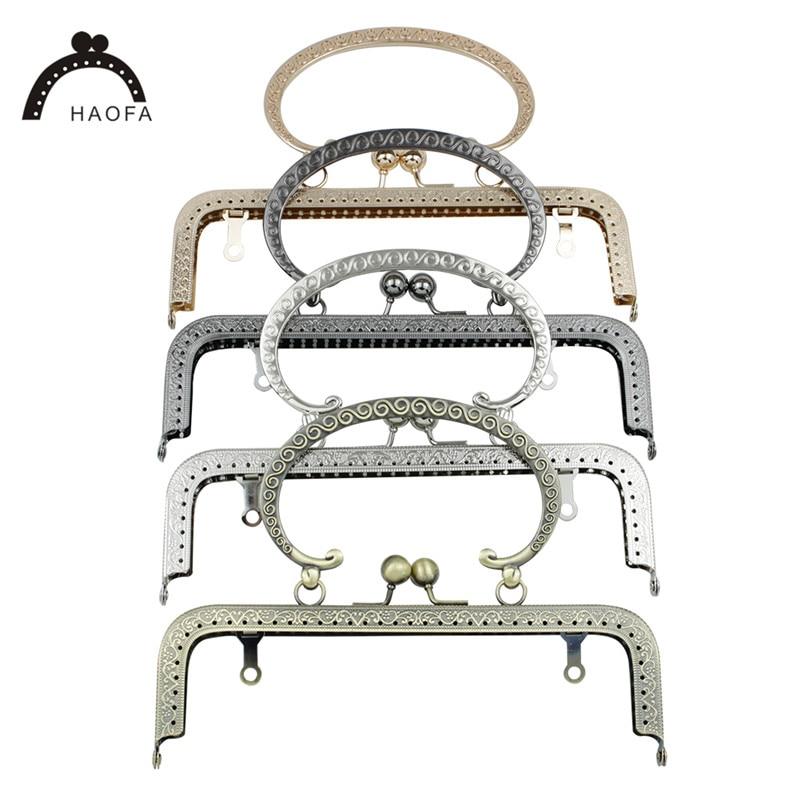 HAOFA 20cm Accessories For Bag Square Pattern Metal Purse Frame C Shape Handle For Clutch Bag Frame Kiss Clasp Bag Handle Purse